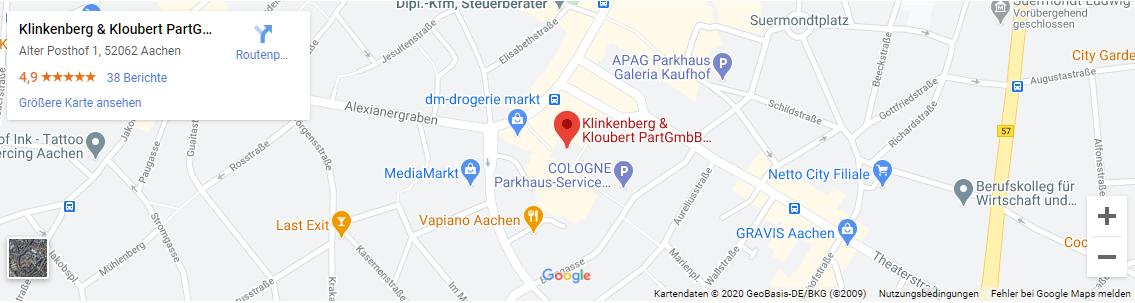 Steuerberater Aachen - Google Map